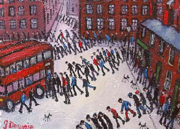 James Downie Oil Painting Busy Street Scene With Red Buses